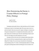 How Demonizing the Enemy is Counter-Effective to Foreign Policy Strategy