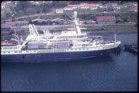 Aerial view of World Discoverer at dock in Puerto Williams