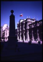 Close view of La Moneda Palace with Chilean flag
