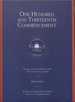 113th Commencement Program, School of International Service and School of Communication, Spring 2001