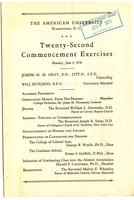 22nd Commencement Program, American University, Spring 1936