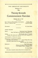 27th Commencement Program, American University, Spring 1941