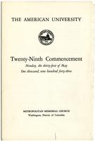 29th Commencement Program, American University, Spring 1943