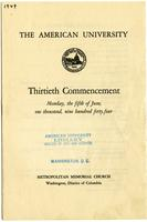 30th Commencement Program, American University, Spring 1944