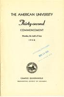 32nd Commencement Program, American University, Spring 1946