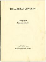 36th Commencement Program, American University, Spring 1950