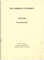 35th Commencement Program, American University, Spring 1949