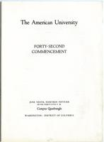 42nd Commencement Program, American University, Spring 1956
