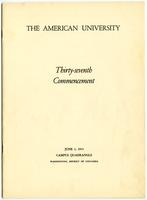 37th Commencement Program, American University, Spring 1951