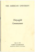 38th Commencement Program, American University, Spring 1952