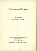 40th Commencement Program, American University, Spring 1954