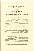 25th Commencement Program, American University, Spring 1939