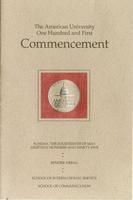 101st Commencement Program, School of International Service and School of Communication, Spring 1995