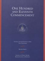 111th Commencement Program, School of Public Affairs and Kogod School of Business, Spring 2000