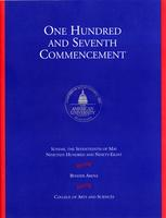 107th Commencement Program, College of Arts and Sciences, Spring 1998