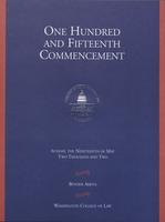115th Commencement Program, Washington College of Law, Spring 2002