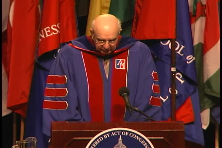 Paul Volcker Commencement Address, 120th Commencement, School of Public Affairs and Kogod School of Business, Spring 2006