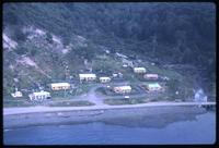 Aerial view of small community near Puerto Williams coast