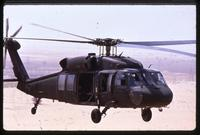A Black Hawk helicopter just above the ground during the Gulf War, Saudi Arabia