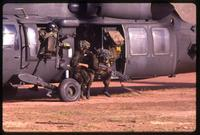 American soldiers exiting a black hawk helicopter during the United States Invasion of Panama, Santiago, Panama