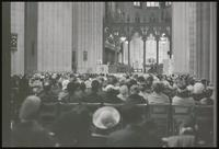 Alternate view of clergyman addressing congregation at the memorial service for Martin Luther King, Jr. inside the Washington National Cathedral, 29 March 1969