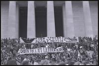 "Alternate view of a crowd at the Lincoln Memorial protesting against Nixon's second inauguration hold banners promoting the United Farm Workers of America (""Farm Workers, Viva la Causa, Peace & Justice,"" ""Boycott Lettuce""), 20 January 1973"