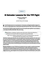 El Salvador Lessons for the TPP Fight