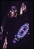 Close view of cathedral stain glass windows