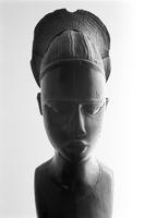 African wooden sculpture of woman's head