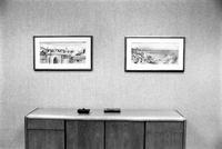 Alternate view of two paintings hanging over a credenza