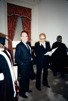 Acclaimed cellist and conductor Mstislav Rostropovich is honored at a small reception at American University, Washington, D.C.