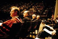 View of university president, faculty, and musicians in front of audience at American University, Washington, D.C.
