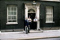 "Herb Striner standing alongside others at ""10 Downing Street,"" London, England"