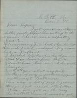Letter from Spencer Mussey to General R.D. Mussey, December 7, 1890