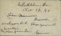 Letter from Spencer Mussey to Mrs. E.S. Mussey, October 12, 1890