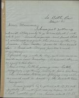 Letter from Spencer Mussey to General R.D. Mussey (i.e. Mrs. R.D. Mussey), March 21, 1891